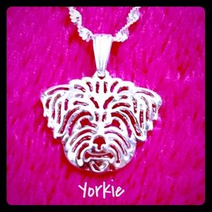 Brand New Yorkie Silver Pendant Necklace